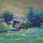 Bridge on McCourtie Park Sharon Sunday Pastel 9x12 $200