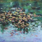 Bright Lily Pads Sharon Sunday Pastel 12x9 NFS