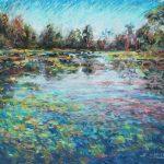 Twilight Pond Sharon Sunday Pastel 9x12 $200